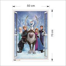 Disney Olaf Sven Kristoff Hans Prince Anna Elsa Princess 3D Window Wall Stickers Home Decor Frozen Mural Art Kids room Decals