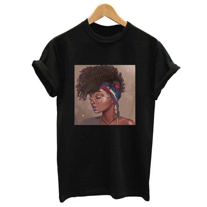 Melanin Female T-shirt Poppin Aba Print Black Girl Aesthetic Harajuku Top Women's Summer Clothing 2019 Vogue T-shirt Femme