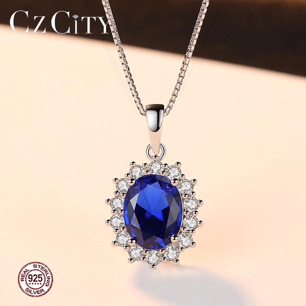 CZCITY Elegant Oval Princess Diana William Sapphire Pendant Necklace 4
