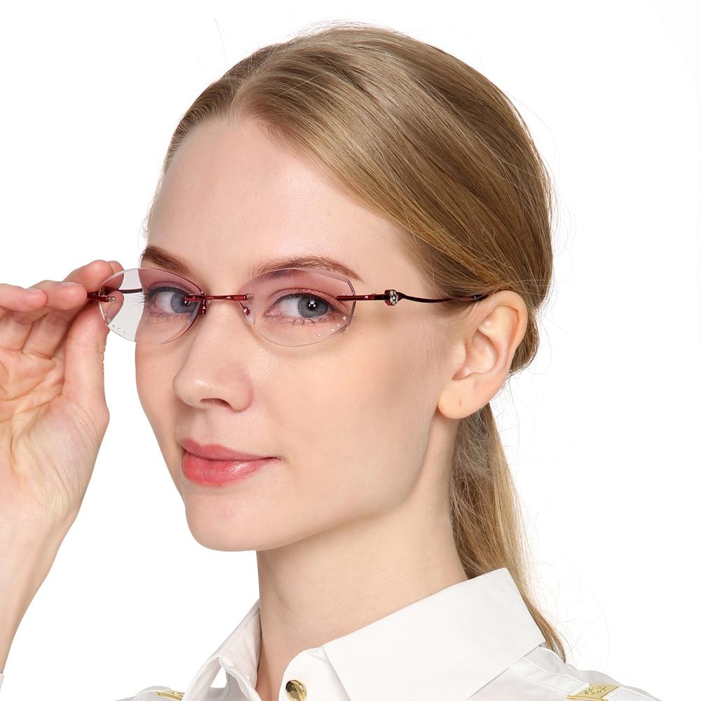 c5d6e163108 Reading Glasses Women Rimless Rhinestone Purple Lens Presbyopic Glasses for  Reader Anti-fatigue +1 +1.5 +2 +2.5 +3 +3.5 +4