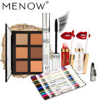MENOW Brand Cosmetics Set Include 12 Color Eyeliner Pencil With Sharpener & Concealer Plate & Lip Gloss & Mascara Face Makeup