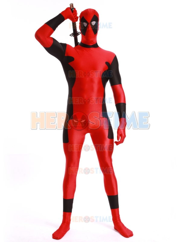 Deadpool Cosplay Costume Classic Spandex Bodysuit Fullbody Halloween Deadpool Superhero Costume Zentai Suit Free Shipping