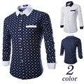 Men Long Sleeve Shirts Diamond Polka Dots Men's Shirt Printed Leisure Shirt 2017 New Design camisa social M09