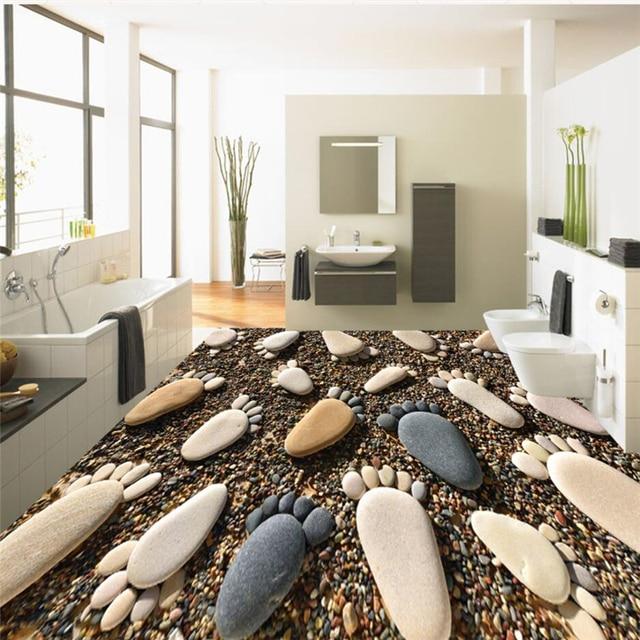 beibehang Custom Flooring 3d Photo Decorative Painting 3D Small Feet Pebble Bathroom Floor Painting Mural 3d flooring wallpapers