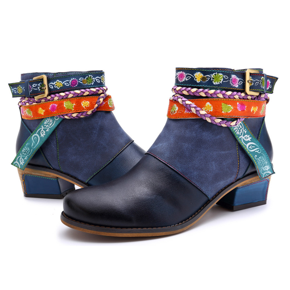 Vintage Bohemian Women Ankle Boots Shoes Side Zip Med Heels Ladies Shoes  Booties Genuine Leather Short Boots Shoe Woman (8)