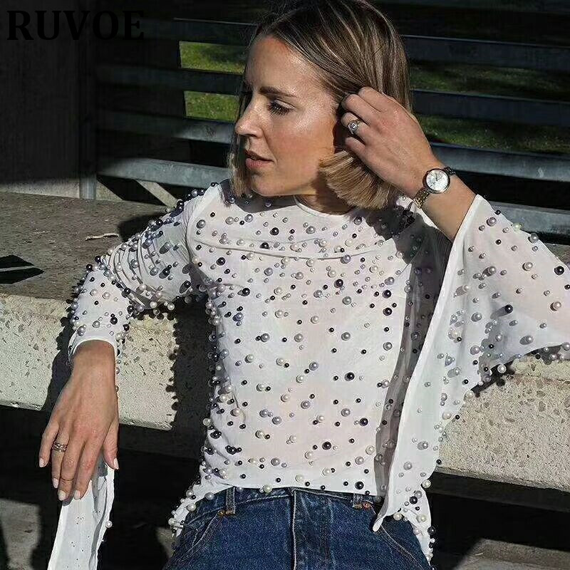 2018 nouvelle mode noir blanc femmes perles en mousseline de soie à manches longues femmes en mousseline de soie Blouse chemise femmes Top dos nu blouse en gros