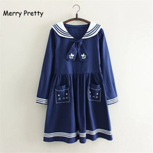 Merry Pretty navy bow tie dress mori girls summer Japan style cute long sleeve sailor collar cat embroidery white vestidos