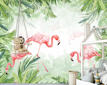 цена на beibehang wallpaper painted tropical rain forest flamingo mural living room bedroom background wall 3d wallpaper home decoration