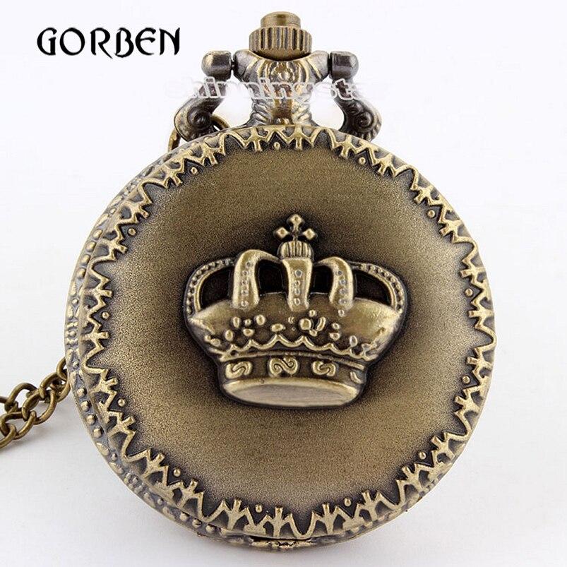 Retro Vintage Pocket Watch Bronze Royal Imperial Crown Quartz Pendant Necklace Chain Women Men Watches Gifts Relogio De Bolso