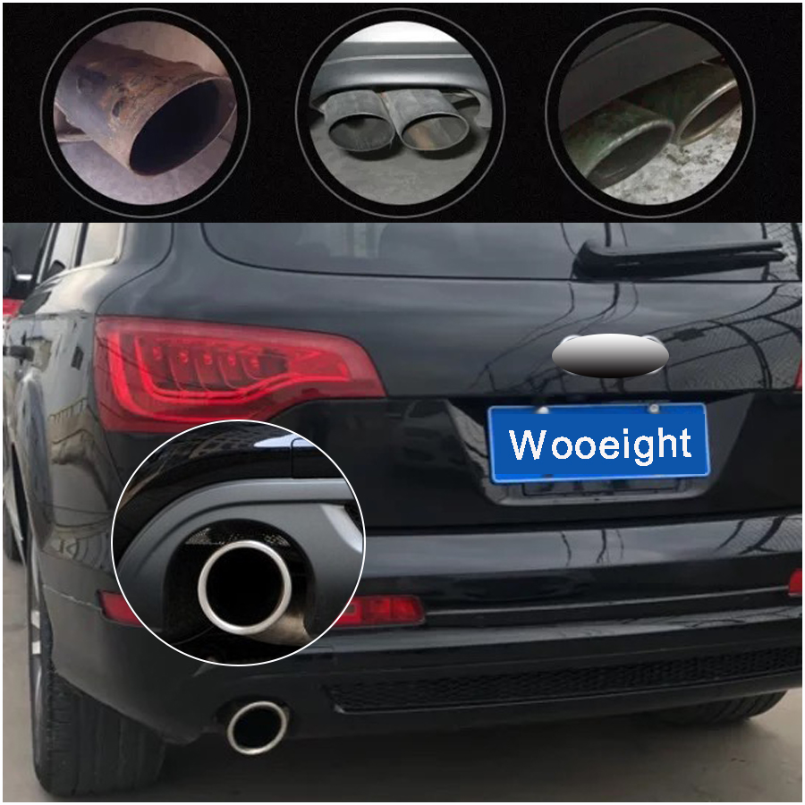 2Pcs Stainless Steel Finisher End Exhaust Tail Rear Muffler Pipe Cover For Audi Q7 Auto Car