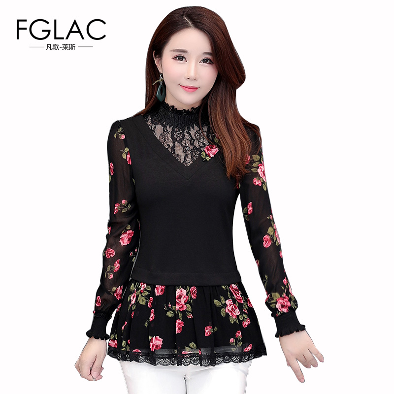 FGLAC Women   blouse     shirt   New Arrivals 2018 Autumn long sleeve women   shirt   Elegant Slim print hollow out plus size women tops