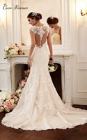 C V Slim Boat Neck Double Shoulder Sexy Lace Mermaid Wedding Dress Fish Tail Cusotm Made