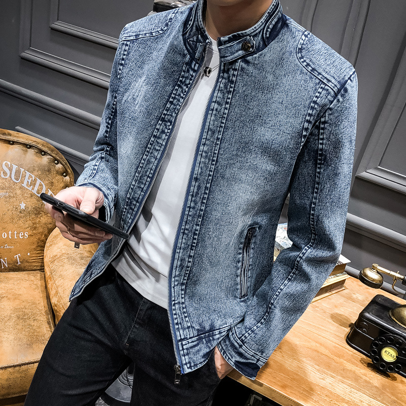 2020 Men Denim Jacket Youth Leisure Restoring Ancient Ways Pure Color Cultivate One's Morality Men's Clothing Collar Jacket