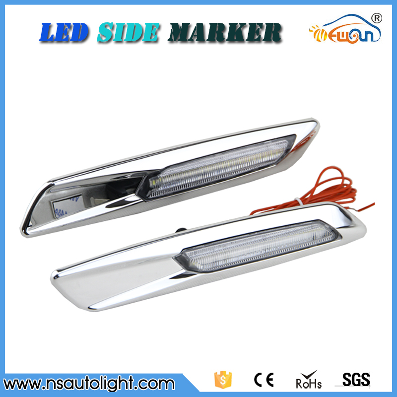 ФОТО  Led side marker FOR E90/E92 F10 style led signal light led daytime running light Clear LENS silver chrome free shipping
