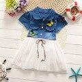 2016 New Cute Baby Girls Dress Cotton Dresses Kids Clothes Cute Kids Girls Toddlers Jean Denim dress Bow Summer Sundress