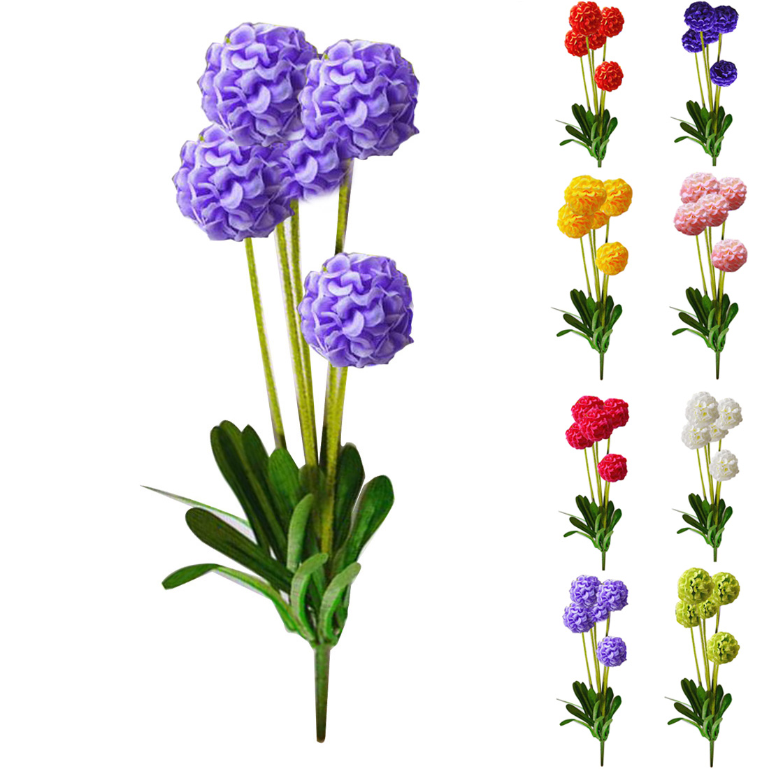 New Style European Country 5 Heads Small Hydrangea Artificial Flowers Lavender Flower Ball Home Decor Silk
