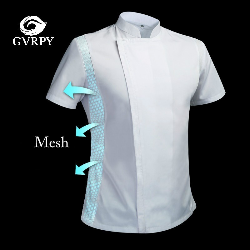 Short Sleeve Chef Uniform Breathable Summer Kitchen Cooking Jacket Restaurant Hotel Cafe Barber Shop Waiter Work Shirt Unisex