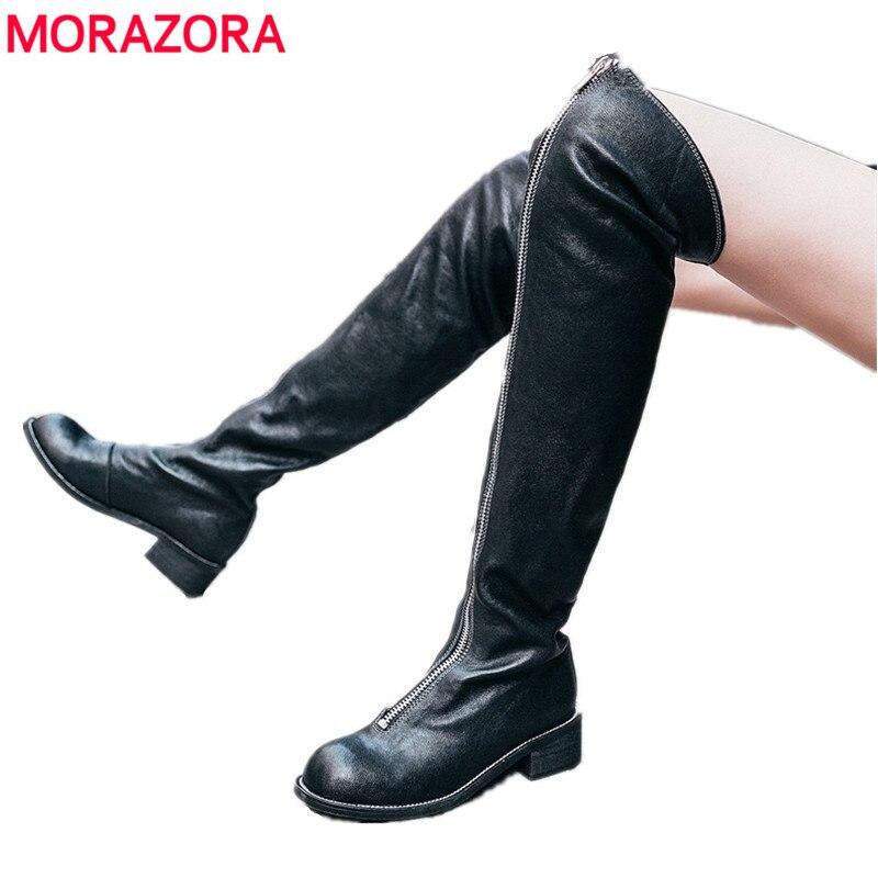 MORAZORA 2018 Nouveau cuir véritable bottes femmes fermeture éclair punk d'équitation cuisse haute bottes automne hiver sur les bottes au genou chaussures