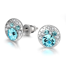 2017 New Blue Crystal Stud Earrings For Women Round Studs Fashion Jewelry Free Shipping