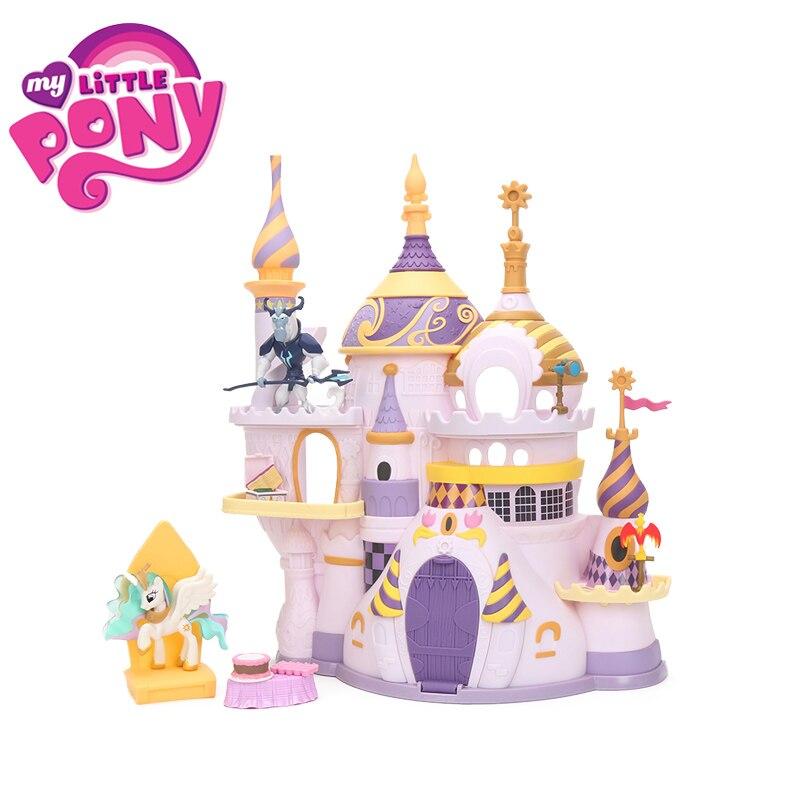 Mój kucyk Little Pony zabawki dla dziewczyny Castillo zamku w Canterlot, dom przyjaźń to magia księżniczka Celestia dla dzieci Colletible Model lalki w Figurki i postaci od Zabawki i hobby na  Grupa 1