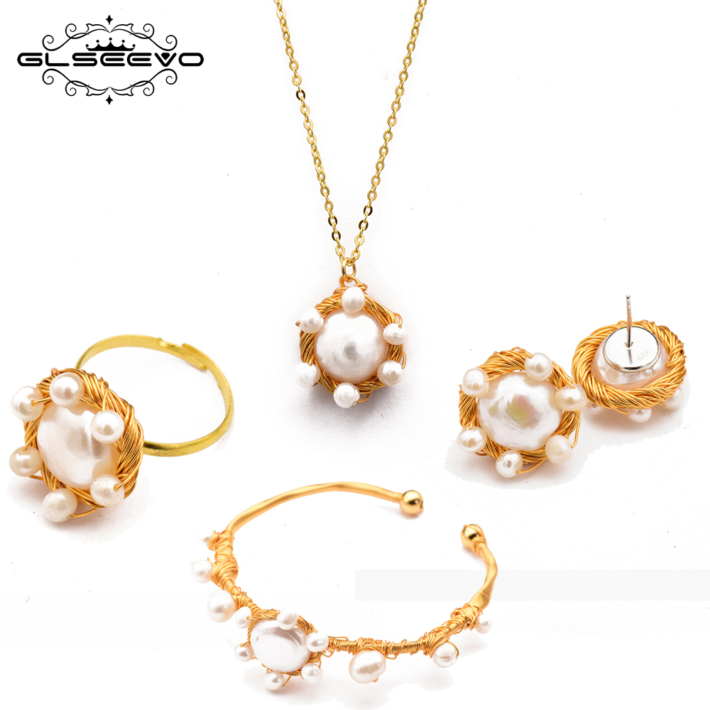 GLSEEVO Handmade Natural Fresh Water Pearl Ring Earrings Necklace Bangle Set For Women Wedding Pearl Jewelry Sets GS0002