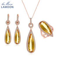 LAMOON Luxury Pear Citrine Natural Gemstone 3pcs S925 Jewelry Sets 100 925 Sterling Silver For Women