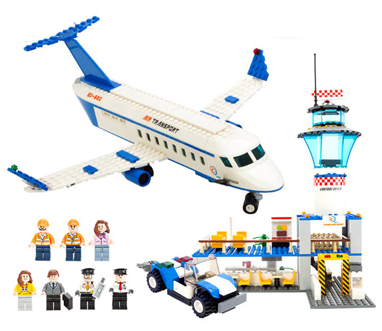 где купить Gudi 8912 652Pcs City Series International Airport Space Shuttle Building Blocks Compatible with Legoe Airplane Toys дешево