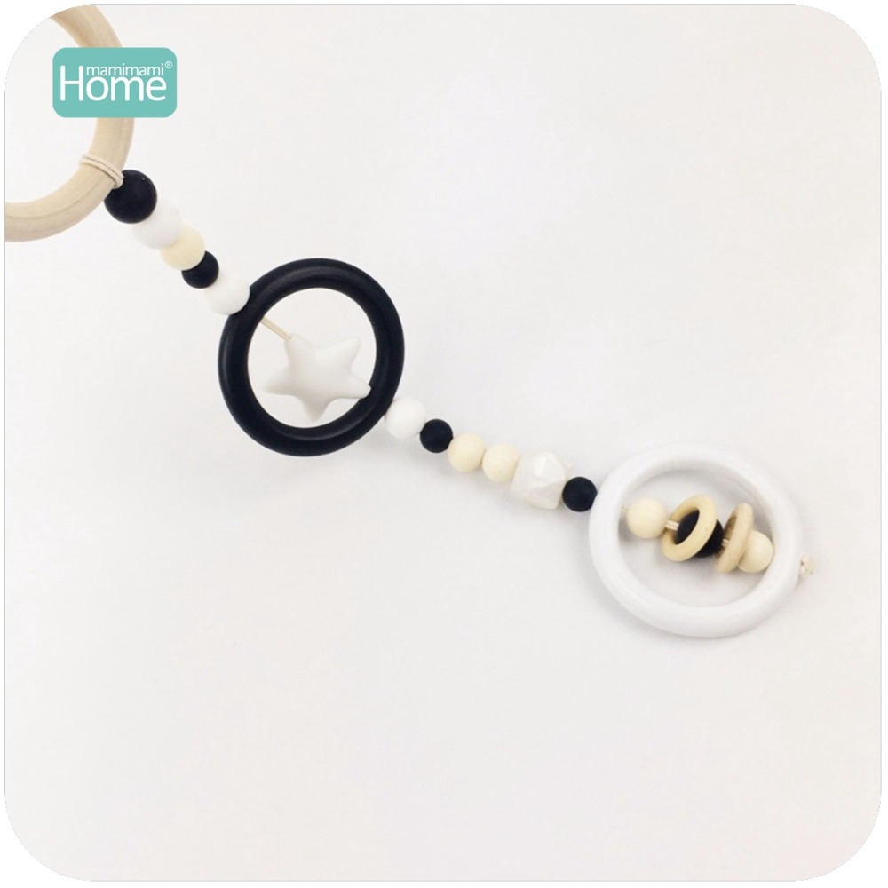MamimamiHome Baby Rattle Toy Silicone Star Wooden Ring Baby Play Gym Teething Accessories Charms Wooden Montessori Toys