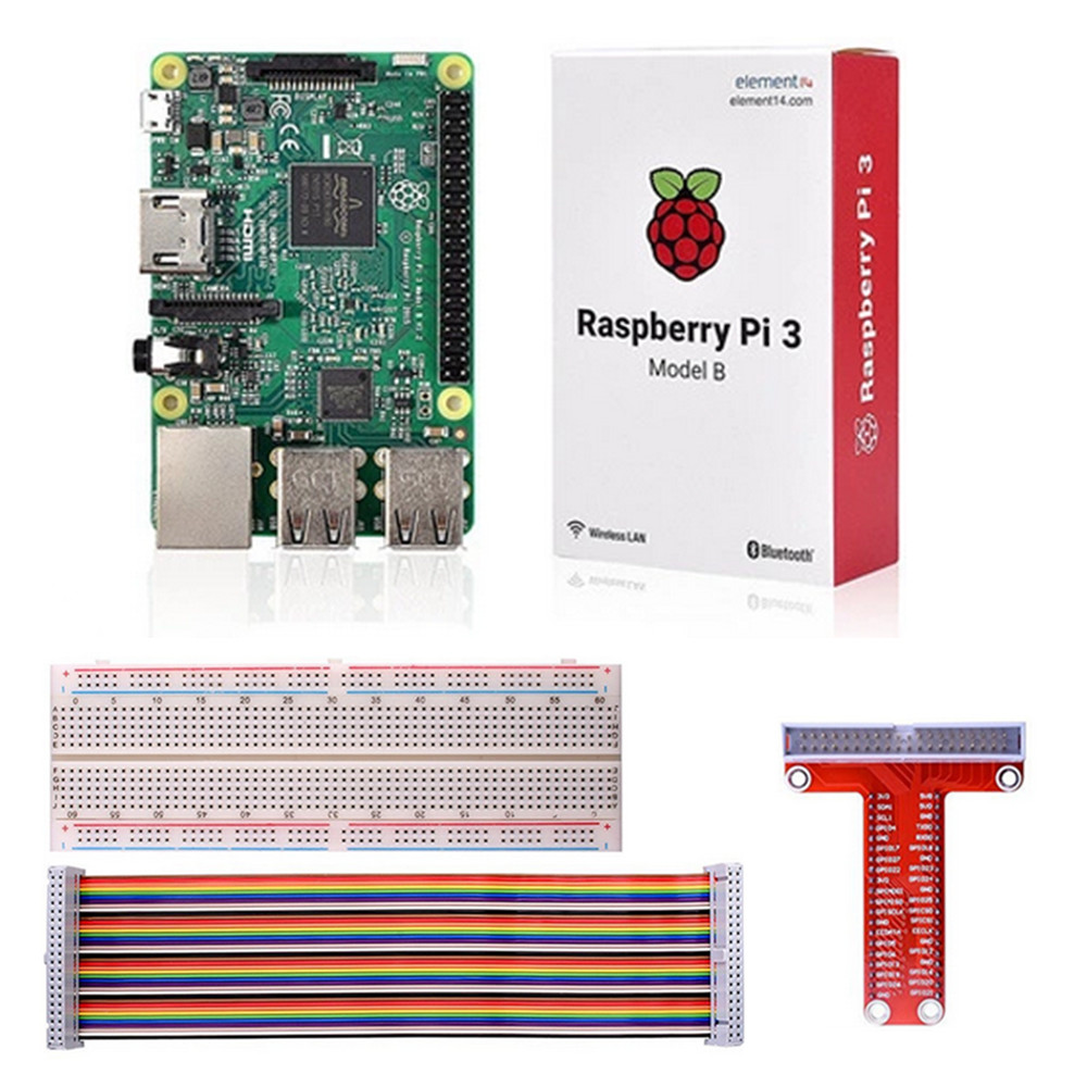Raspberry Pi 3 Model B Board T Type Gpio Extension 40 Pins Circuit Rainbow Cables 830 Tie Points Breadboard In Demo From Computer Office On