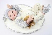 22 cal Całego ciała silikonu winylu reborn baby doll zabawki grać dom chłopiec dzieci dzieci dziecko kąpać brithday prezent dzień Dziecka zabawki