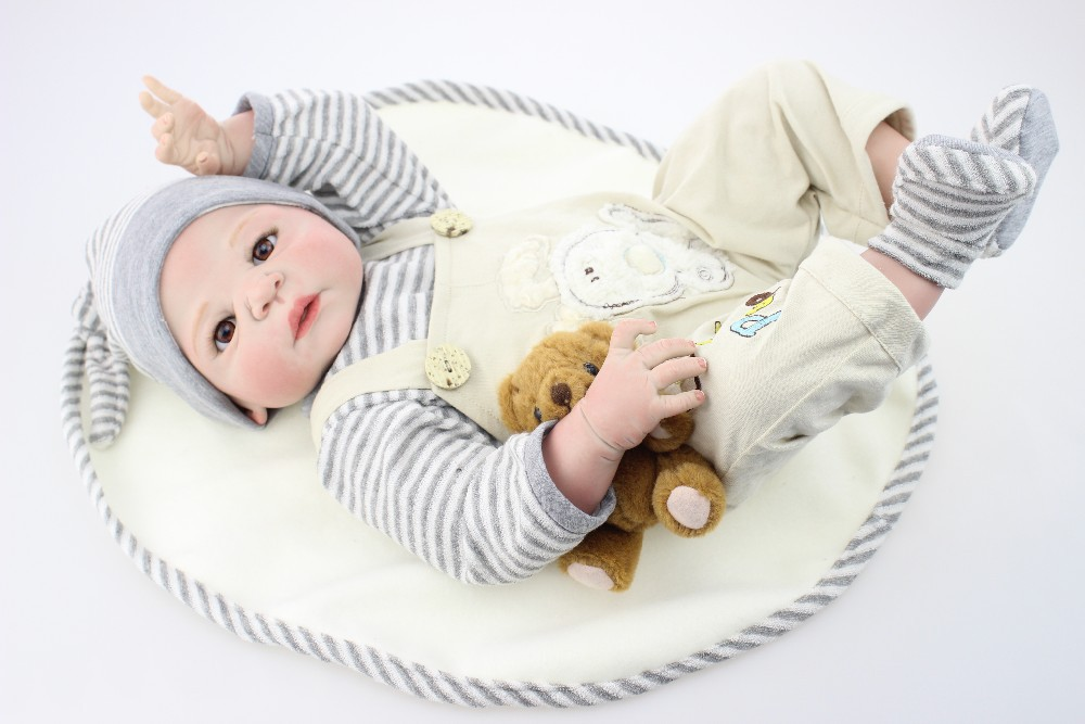 22 inch Full body silicone vinyl reborn baby doll toys play house boy babies kids child brithday Children's Day gift bathe toy solar power explosion proof flashlight