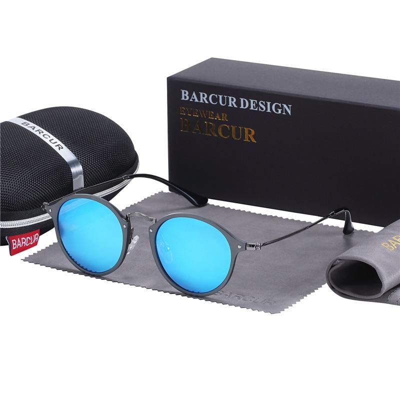 BARCUR Aluminum Vintage Sunglasses for Men Round Sunglasses Men Retro Glasses Male Famle Sun glasses retro oculos masculino 10