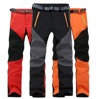 2016 Autumn And Winter Men Pants Keep warm Casual Pants Fleece Trousers Waterproof Windproof Cargo Pants Plus Size S-XXXL