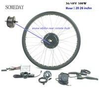 Vender Algún día 36 V 48 V 500W Kit de conversión de bicicleta eléctrica grasa trasera rotar