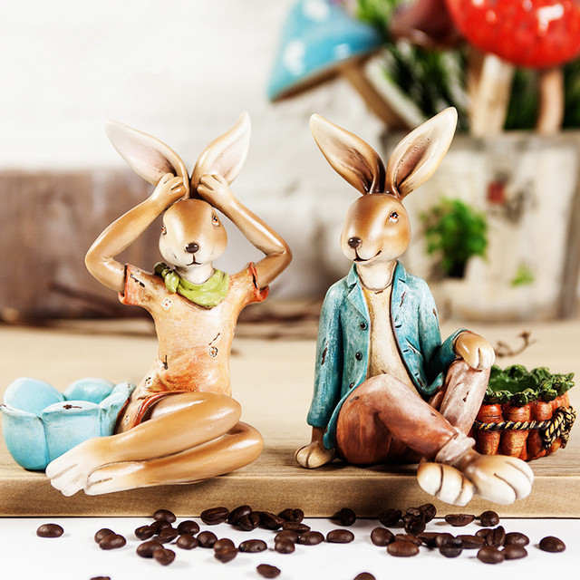 Good Handmade Easter Bunny Candlestick Decors Resin Rabbit Figurines Statues  Ornaments Vintage Decorative Candle Holder Crafts