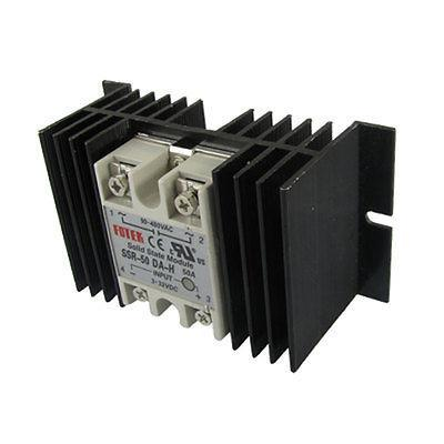 DC-AC Single Phase Solid state relay SSR-50DA-H 50A 3-32V 90-480V w heat sink high quality ac ac 80 250v 24 380v 60a 4 screw terminal 1 phase solid state relay w heatsink