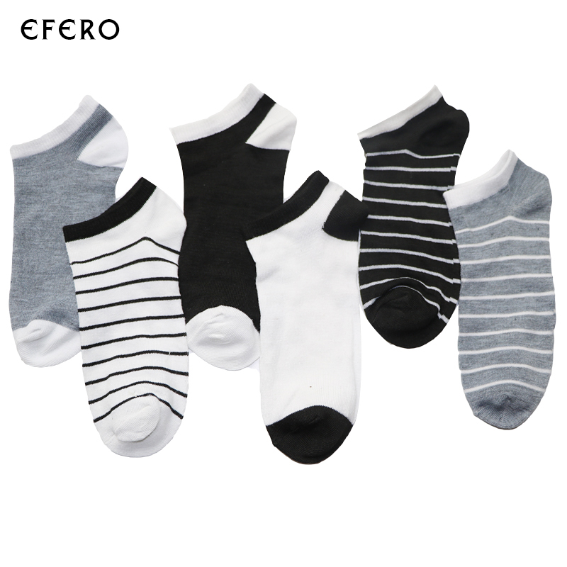 6Pairs Men Ankle Socks For Mens Business Casual Solid Colors Stripe Short Socks Male Sock Slippers Shallow Mouth Socks Summer