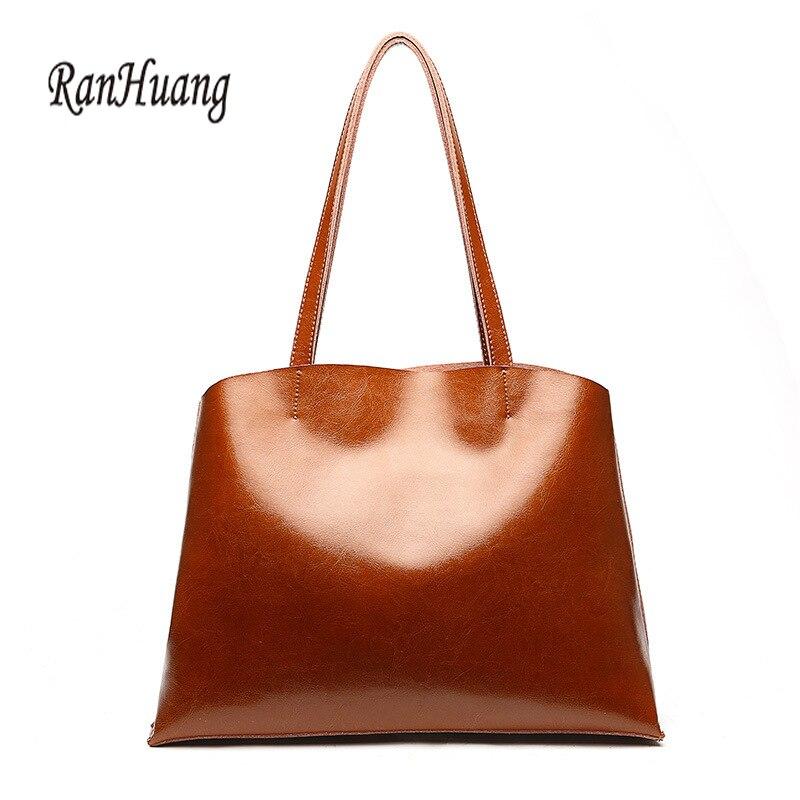 RanHuang New Arrive 2018 Women Genuine Leather Tote Bags Vintage Handbags Large Handbags Women's Fashion Shoulder Bags Black Red