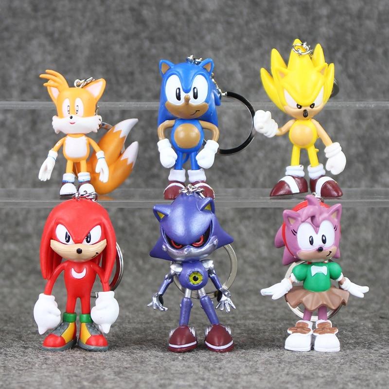 6pcs/<font><b>lot</b></font> <font><b>Sonic</b></font> <font><b>The</b></font> <font><b>Hedgehog</b></font> <font><b>PVC</b></font> <font><b>Action</b></font> <font><b>Figure</b></font> Toys Dolls <font><b>Sonic</b></font> Keychains Pendant Free Shipping
