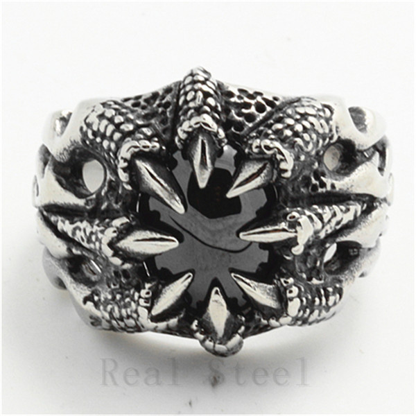 Dragon Claw Crystal Ring Lot 316L Stainless Steel Cool Ghost Black Stone CZ Flaming Hellfire Aliexpress - Rany Store store