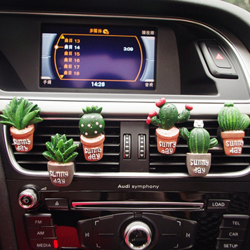 Car Air Conditioning Vent Perfume Clip Creative Cute Resin Cactus Air Freshener Fragrance Solid Balm Decoration Ornaments