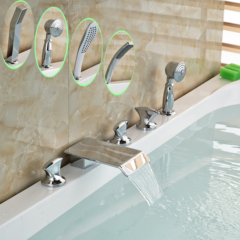 Widespread 5 Pcs Chrome Bathtub Bath Tub Waterfall Faucet w/ Handheld Shower Deck Mounted free shipping polished chrome finish new wall mounted waterfall bathroom bathtub handheld shower tap mixer faucet yt 5333