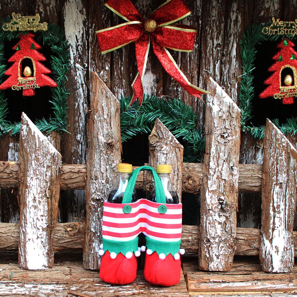 2Pcs Christmas Juice Wine Bottle Bag Storage Pounch Party Festival Supplies