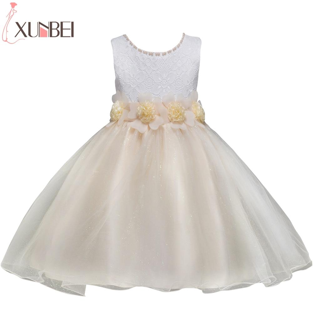 Lovely O Neck Beaded Birthday First Communion Dresses Petals Sleeveless Ball Gown Flower Girl Dresses For Weddings Evening Party