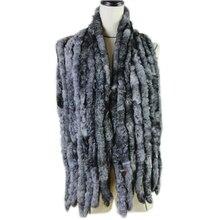 Модный женский классический шарф, 8 вертикальных полос, длинный шарф, 135 см* 16 см, женский зимний Настоящий мех кролика, шарфы