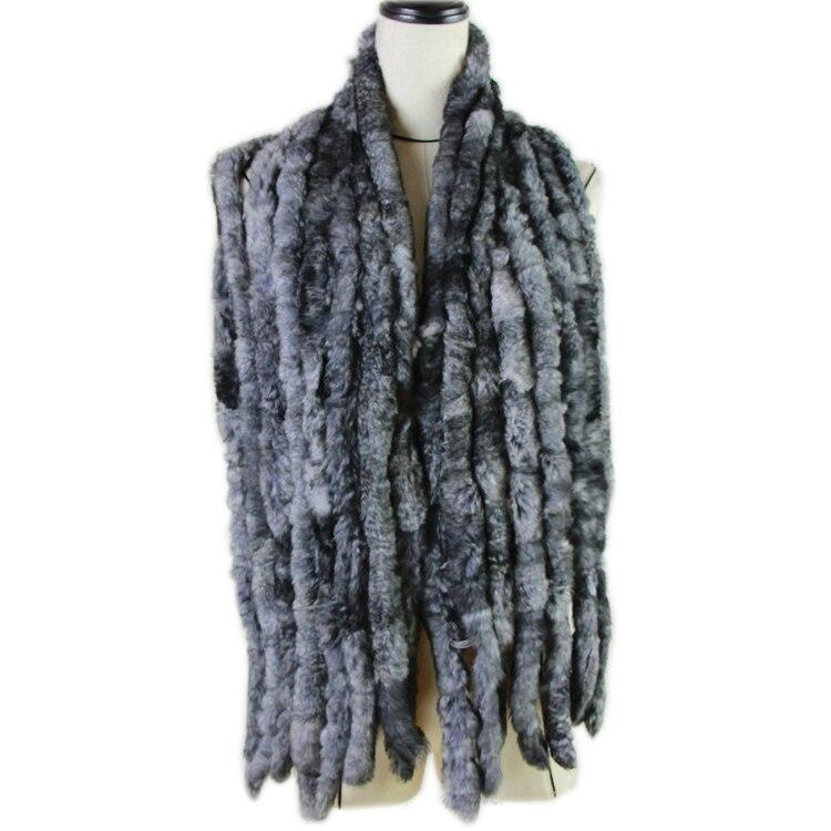 Fashion Women Scarf Classic 8 Vertical Bars Wrap Scarf Long Scarves 135cm*16cm Ladies Winter Real Rex Rabbit Fur Scarves
