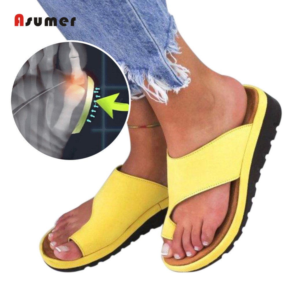 Asumer 2019 new comfortable Corrective protection women sandals mid-heel Wedges sandals women shoes Casual summer Slippers big toe sandal