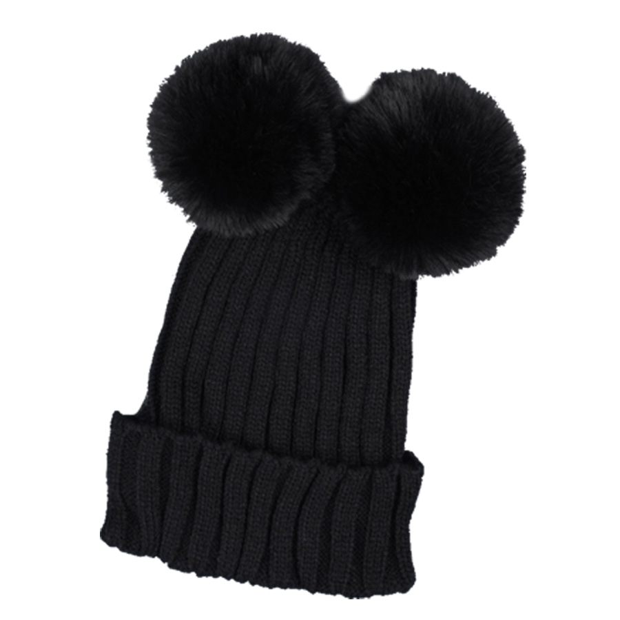 afa541f67c1 2017 New Fashion Winter Mickey Model Fur Hats For Women Girl Ear Protect  Wool Knitted Caps Women Two Detachable Fur Ball Beanies-in Skullies    Beanies from ...