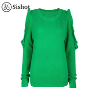 Sishot Women Casual Knitwear 2017 Autumn Green Plain Long Sleeve Falbala Hollow O Neck Loose Patchwork
