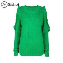 Sishot women casual knitwear 2017 autumn green plain long sleeve falbala hollow o neck loose patchwork ruffles casual pullovers